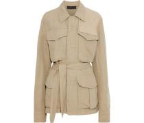 Belted Cotton And Linen-blend Jacket Beige