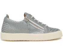Gail Metallic-trimmed Snake-effect Leather Sneakers Sky Blue