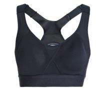 Cutout mesh-paneled stretch-jersey sports bra