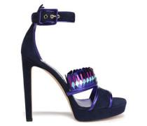 Kathleen metallic-trimmed suede platform sandals