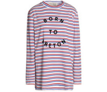Flocked striped cotton-jersey top