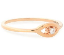 Rose gold-plated sterling silver crystal ring
