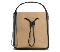 Two-tone leather and suede tote