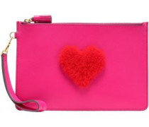Shearling-appliquéd Leather Pouch Bright Pink Size --