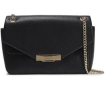 Suede-trimmed Metallic-leather Shoulder Bag Black Size --