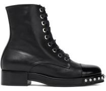 Crystal-embellished Leather Boots Black