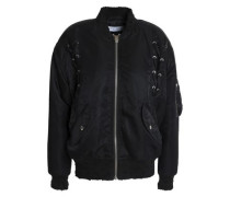 Lace-up shell bomber jacket