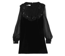 Embellished silk and cotton-blend voile and velvet mini dress