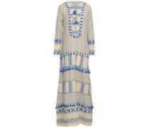 Tasseled Embroidered Striped Cotton-gauze Maxi Dress Light Blue