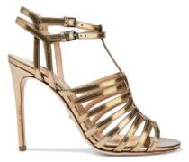 Metallic Cutout Leather Sandals Gold