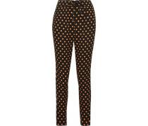 Polka-dot crepe tapered pants