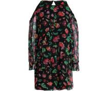 Cold-shoulder floral-print silk-chiffon mini dress