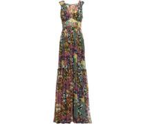 Tiered Pleated Floral-print Silk-georgette Maxi Dress Sage Green