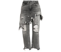 Layered distressed high-rise straight-leg jeans