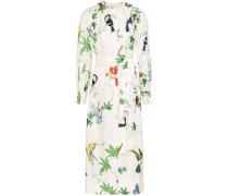 Belted Printed Silk-twill Midi Dress White
