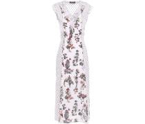Woman Larissa Crepon-paneled Printed Silk Crepe De Chine Midi Dress Off-white