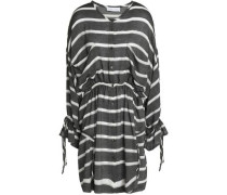 Striped Woven Mini Dress Black