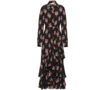 Aurora Tiered Floral-print Silk Crepe De Chine Maxi Dress Black