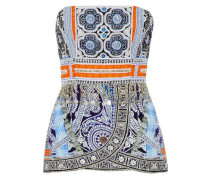 Strapless embellished printed silk top