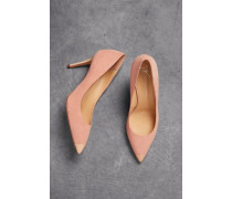 Lucrezia 90 Patent Leather-rimmed Suede Pumps Blush