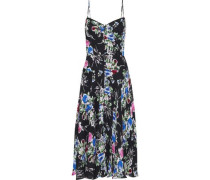 Woman Emily Button-detailed Floral-print Silk-chiffon Slip Dress Black