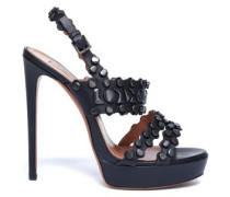 Embellished Leather Platform Sandals Black