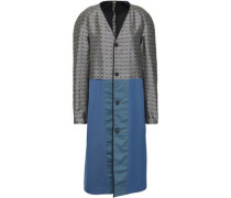 Paneled Jacquard And Twill Coat Blue
