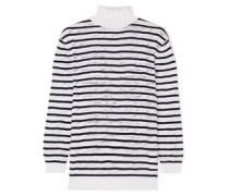 Woman Striped Cotton-blend Lace Turtleneck Sweater White