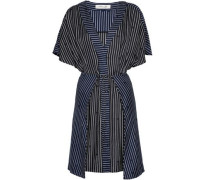 Tie-front layered striped silk-twill dress