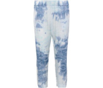 Cropped Tie-dyed Satin Straight-leg Pants Sky Blue Size 1