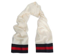 Checked Intarsia-knit Wool And Cashmere-blend Scarf Ivory Size --