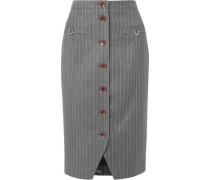 Button-detailed Pinstriped Wool-blend Felt Pencil Skirt Anthracite