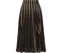 Striped open-knit cotton-blend midi skirt