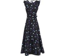 Woman Ruffled Floral-print Cotton-poplin Midi Dress Black