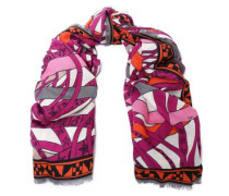 Frayed printed cashmere and silk-blend scarf