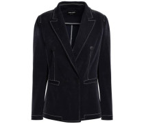 Double-breasted Knitted Blazer Navy