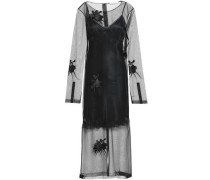 Embroidered Tulle Maxi Dress Black