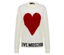 Felt-appliquéd Pointelle-knit Sweater Off-white