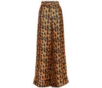 Satin-jacquard Wide-leg Pants Animal Print
