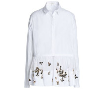 Embellished cotton-poplin and tulle shirt