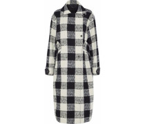 Double-breasted Checked Cotton-blend Bouclé-tweed Coat White