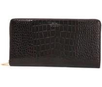 Croc-effect Leather Wallet Dark Brown Size --