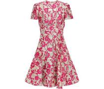 Flared Metallic Floral-jacquard Mini Dress Sand
