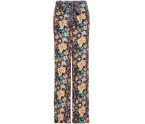 Floral-print Crepe Wide-leg Pants Black