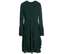 Pleated ruffled crepe dress