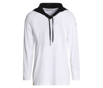 Perforated stretch hooded sweatshirt
