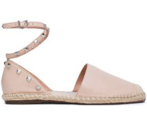 Studded Leather Espadrilles Pastel Pink