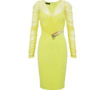 Crystal-embellished ruched mesh and crepe dress