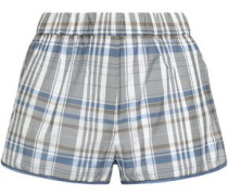 Bead-embellished Checked Cotton-blend Shorts Gray