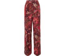 Woman Printed Silk-crepe Wide-leg Pants Merlot